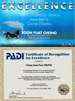 2006 and 2009 recognize by PADI for Outstanding customer service and professionalism in PADI scuba instruction.